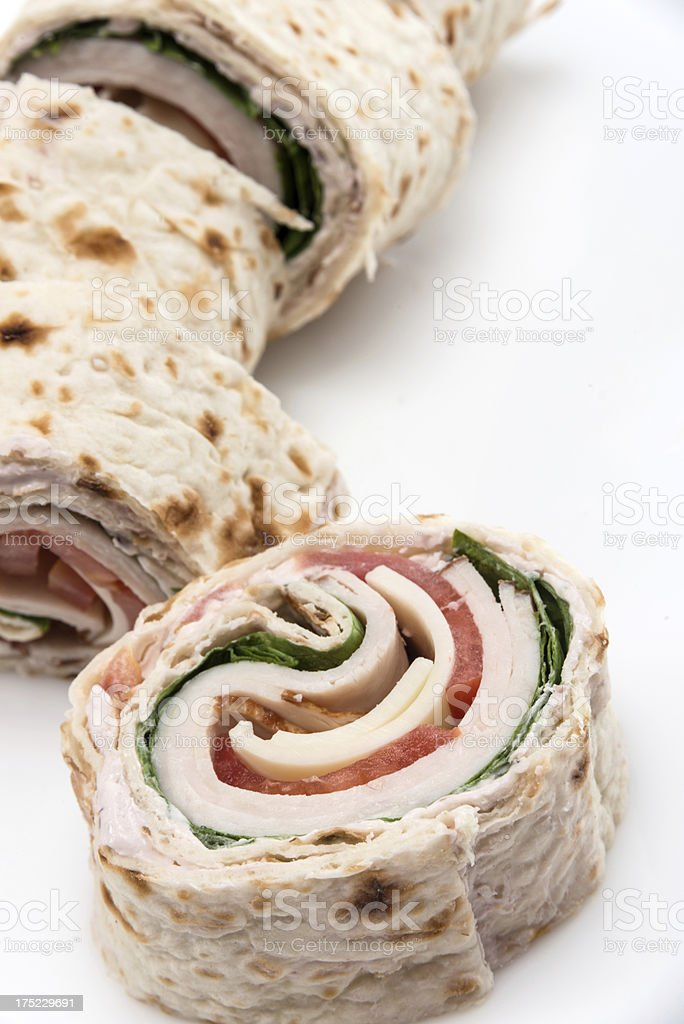 Sliced Turkey Breast and cheese wrap sandwich royalty-free stock photo