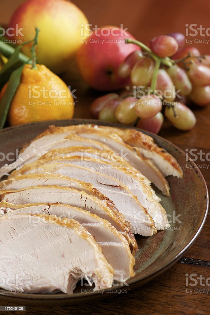 Sliced Turkey on Table for Holiday Meal royalty-free stock photo