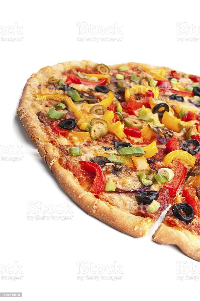sliced vegetable, mushroom and salami pizza royalty-free stock photo