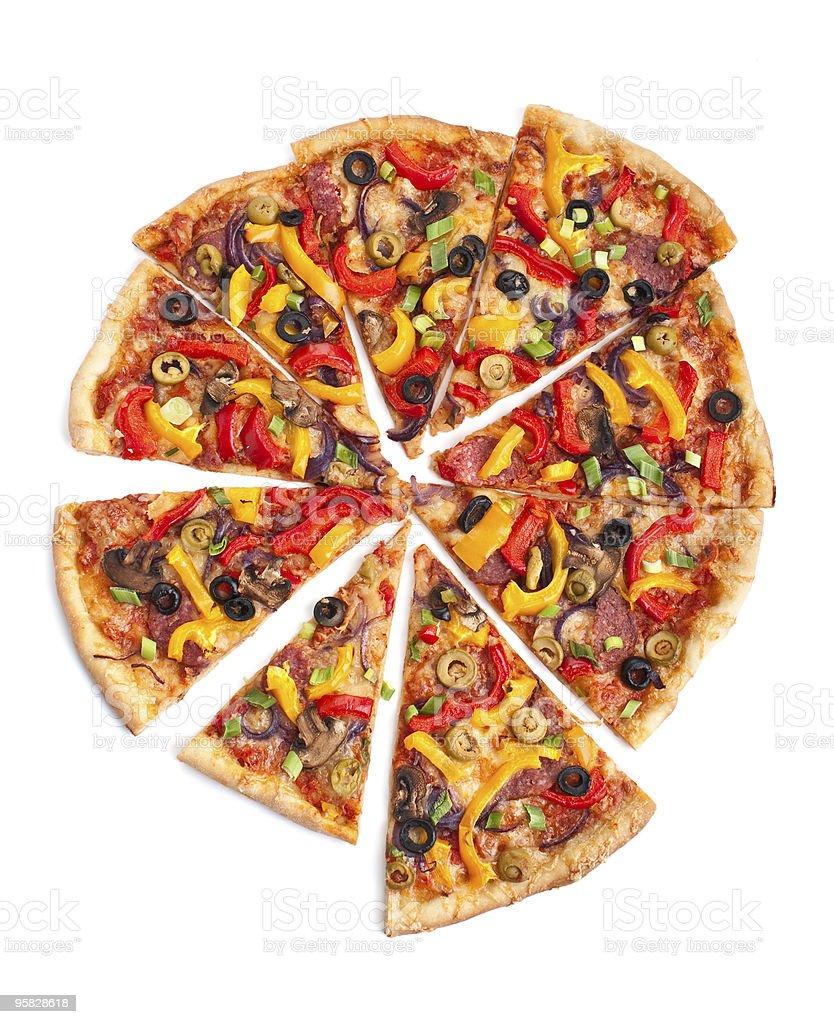 sliced vegetable,mushroom and salami pizza royalty-free stock photo