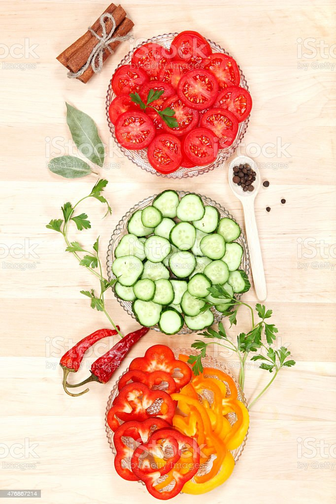 Sliced ?€‹?€‹vegetables in the dishes and spices. stock photo
