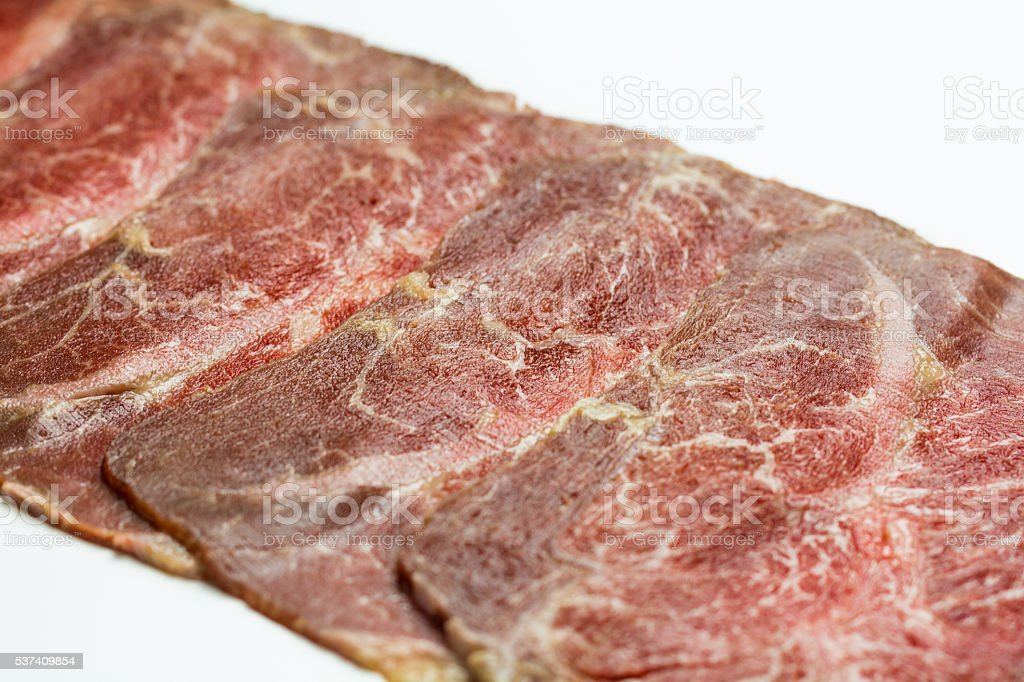 Sliced Wagyu beef royalty-free stock photo