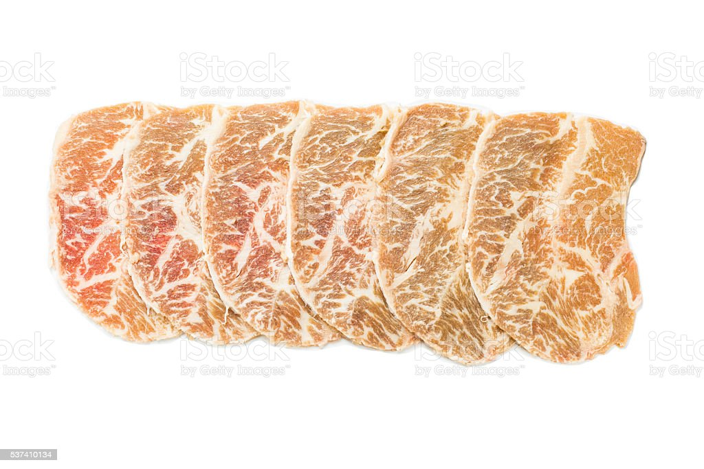 Sliced Wagyu beef royalty-free stock photo
