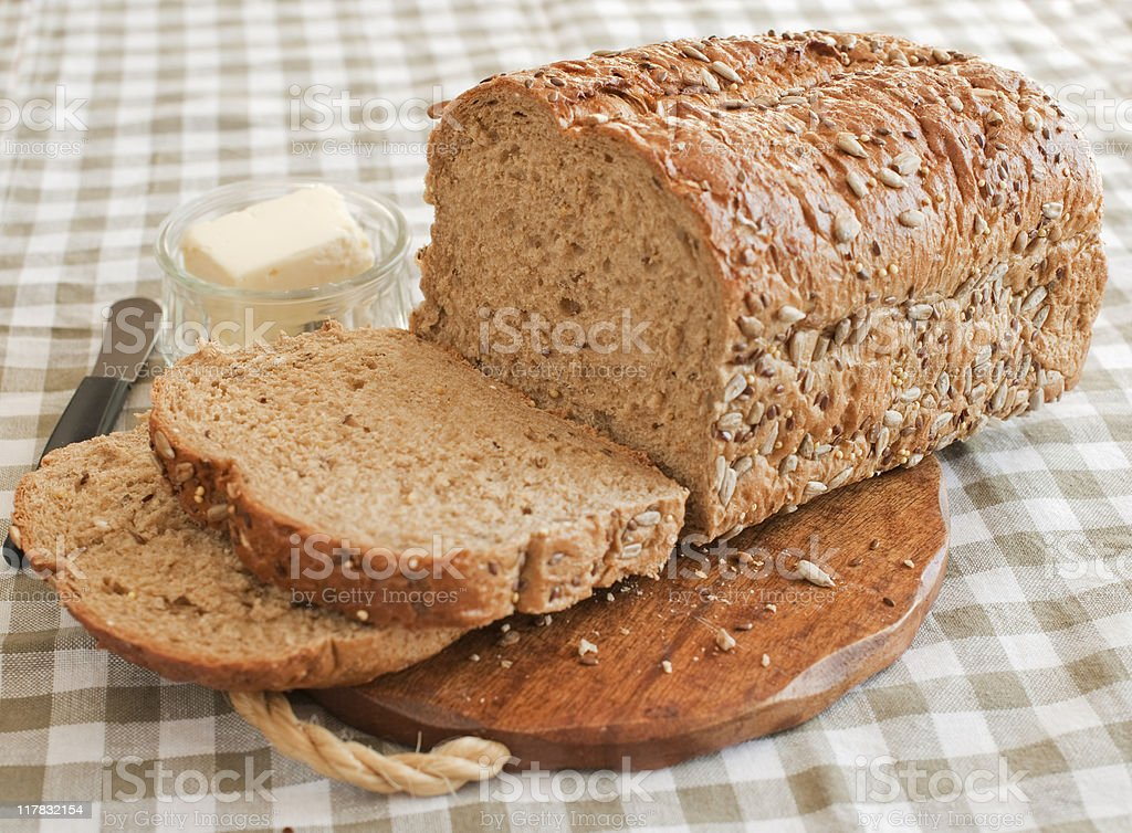 Sliced Whole Grain Bread royalty-free stock photo