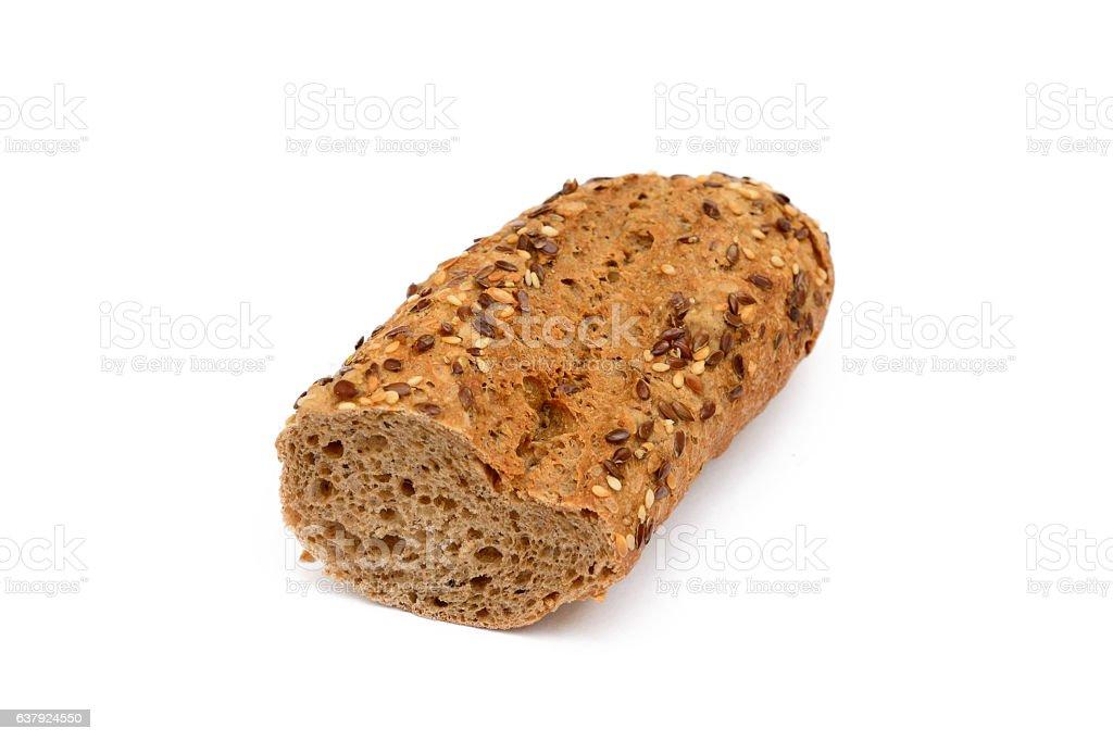 Sliced wholemeal baguette stock photo