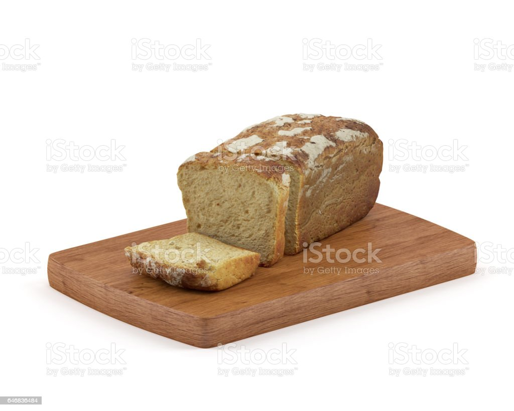 Sliced Wholemeal Bread Isolated on White Background stock photo