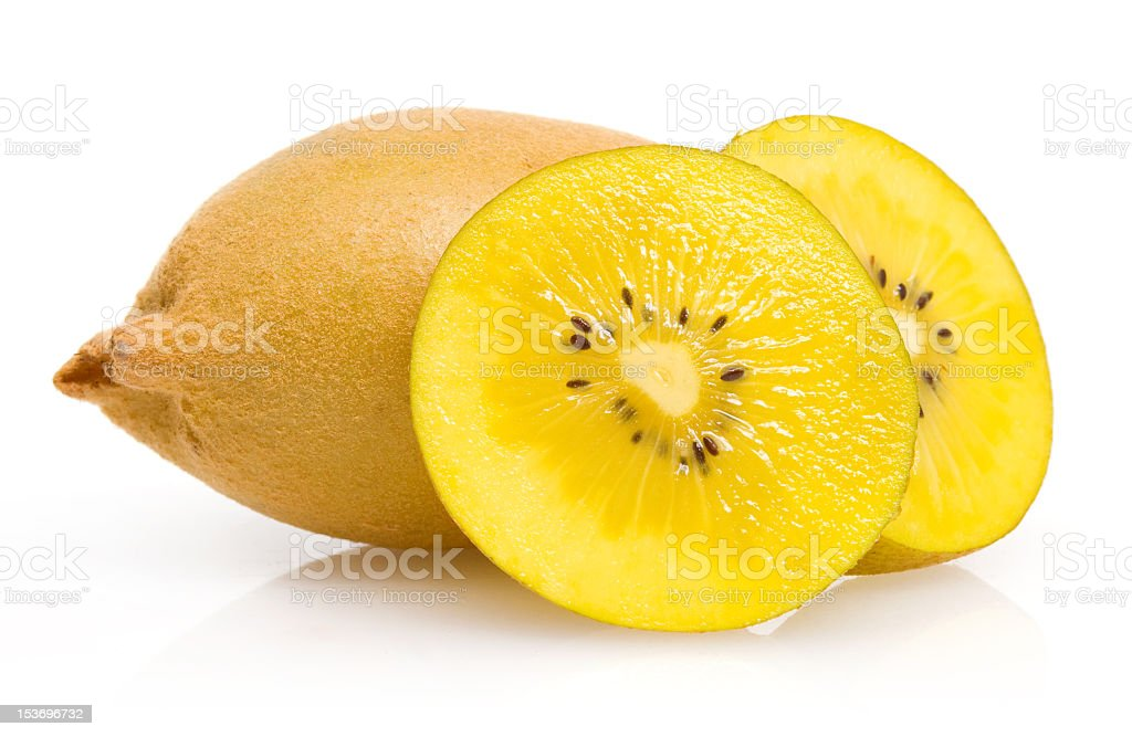 Sliced yellow kiwi on white background royalty-free stock photo