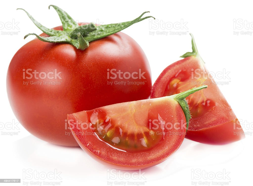 slices and whole tomato stock photo