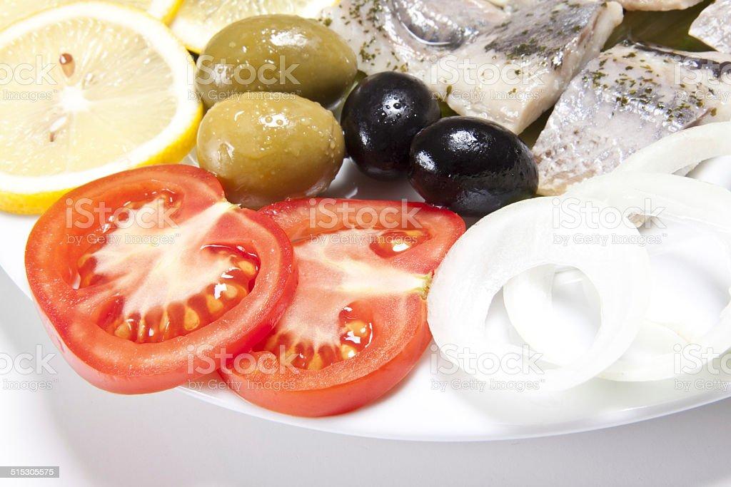 slices fish and tomato stock photo