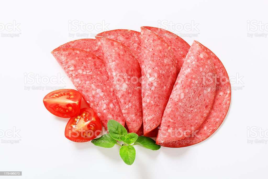 slices of a salami stock photo