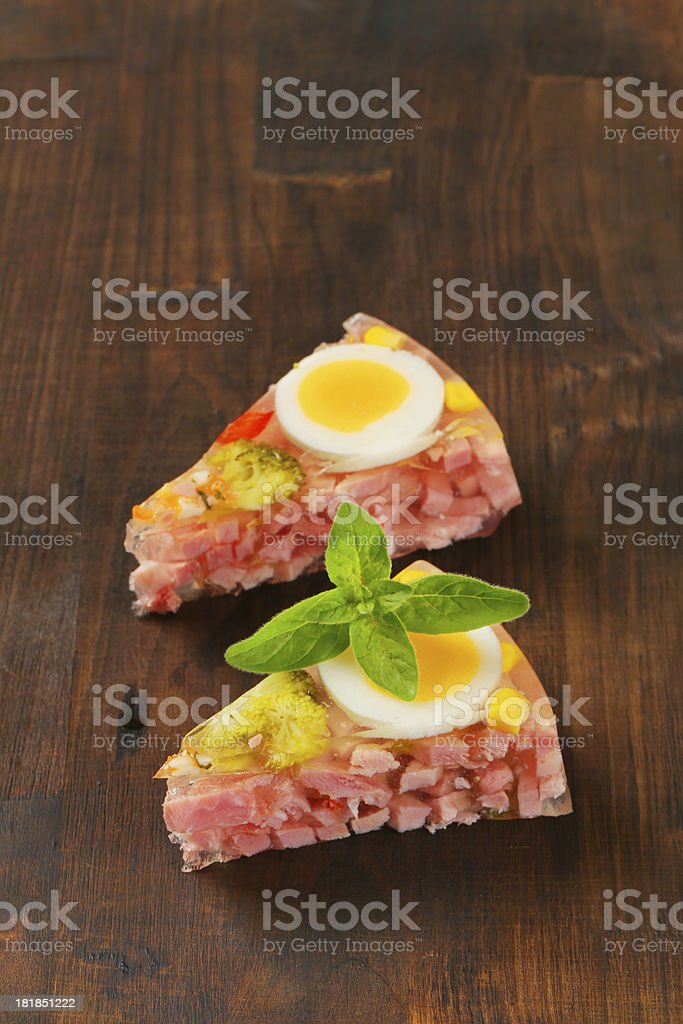 Slices of aspic cake royalty-free stock photo