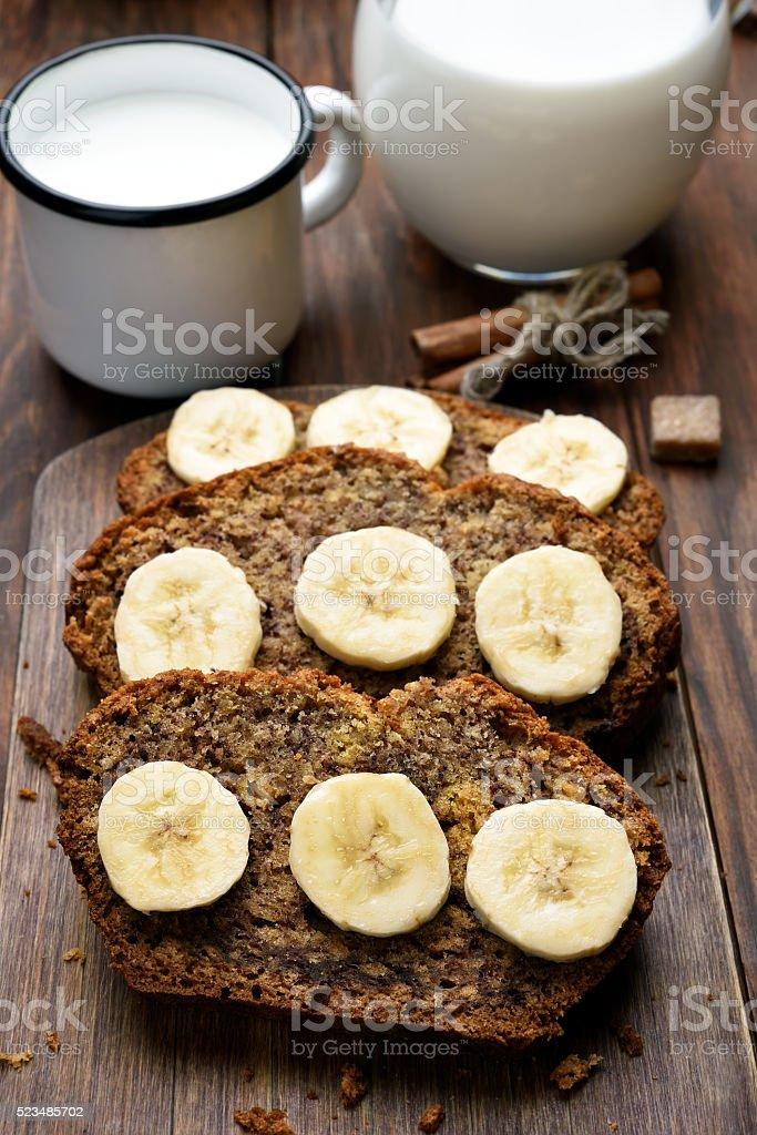 Slices of banana bread stock photo