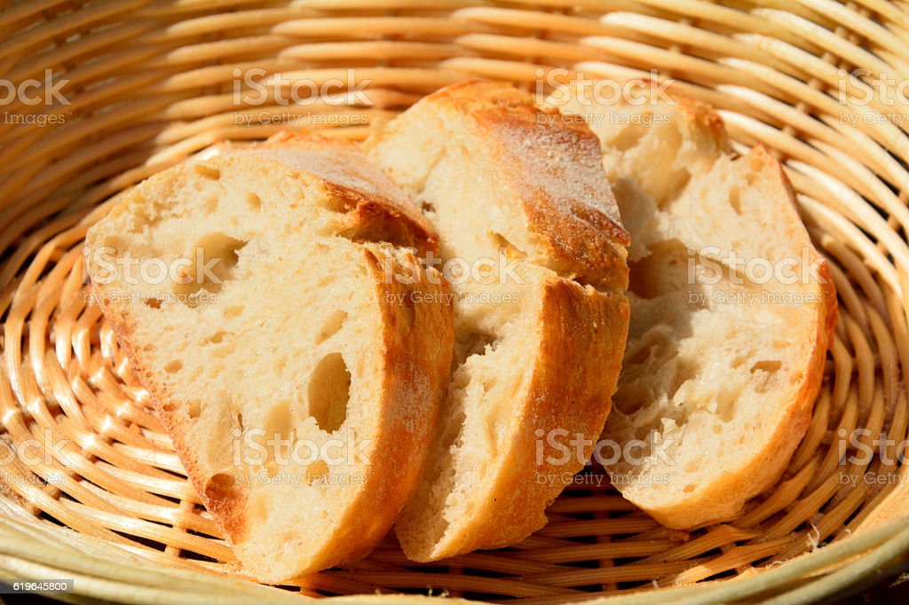 Slices of bread in a basket. stock photo