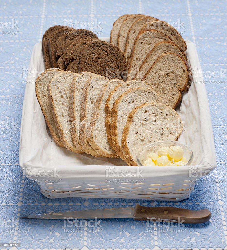 slices of bread in basket royalty-free stock photo