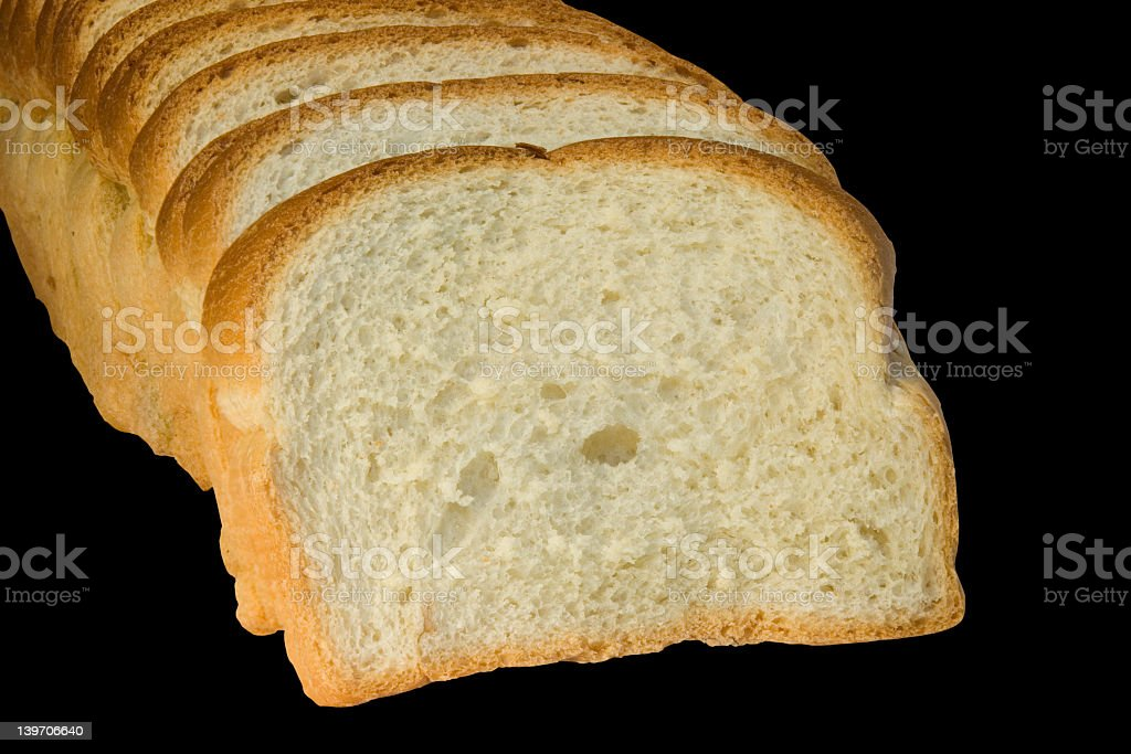 Slices of bread isolated on black background royalty-free stock photo