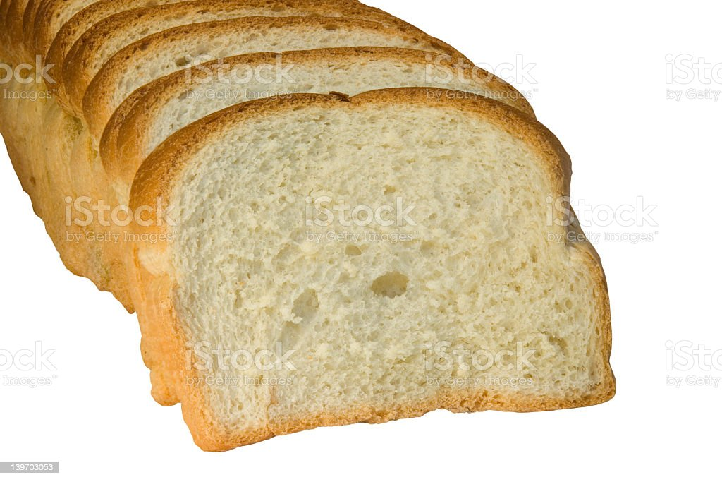Slices of bread isolated on white background royalty-free stock photo