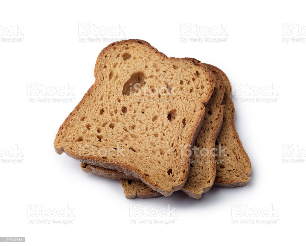 Slices of Brown Bread isolated stock photo