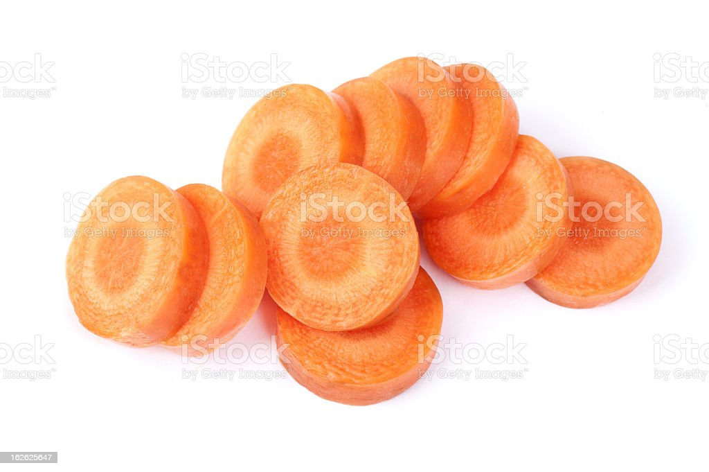 Slices of carrot on a white background stock photo