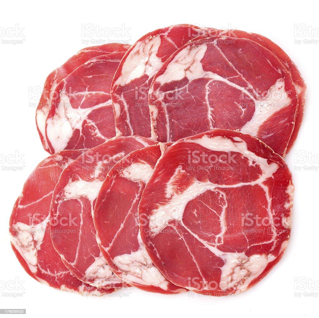 slices of chorizo royalty-free stock photo