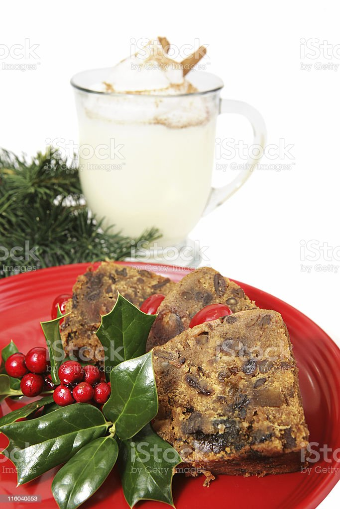 Slices of Christmas Fruitcake royalty-free stock photo