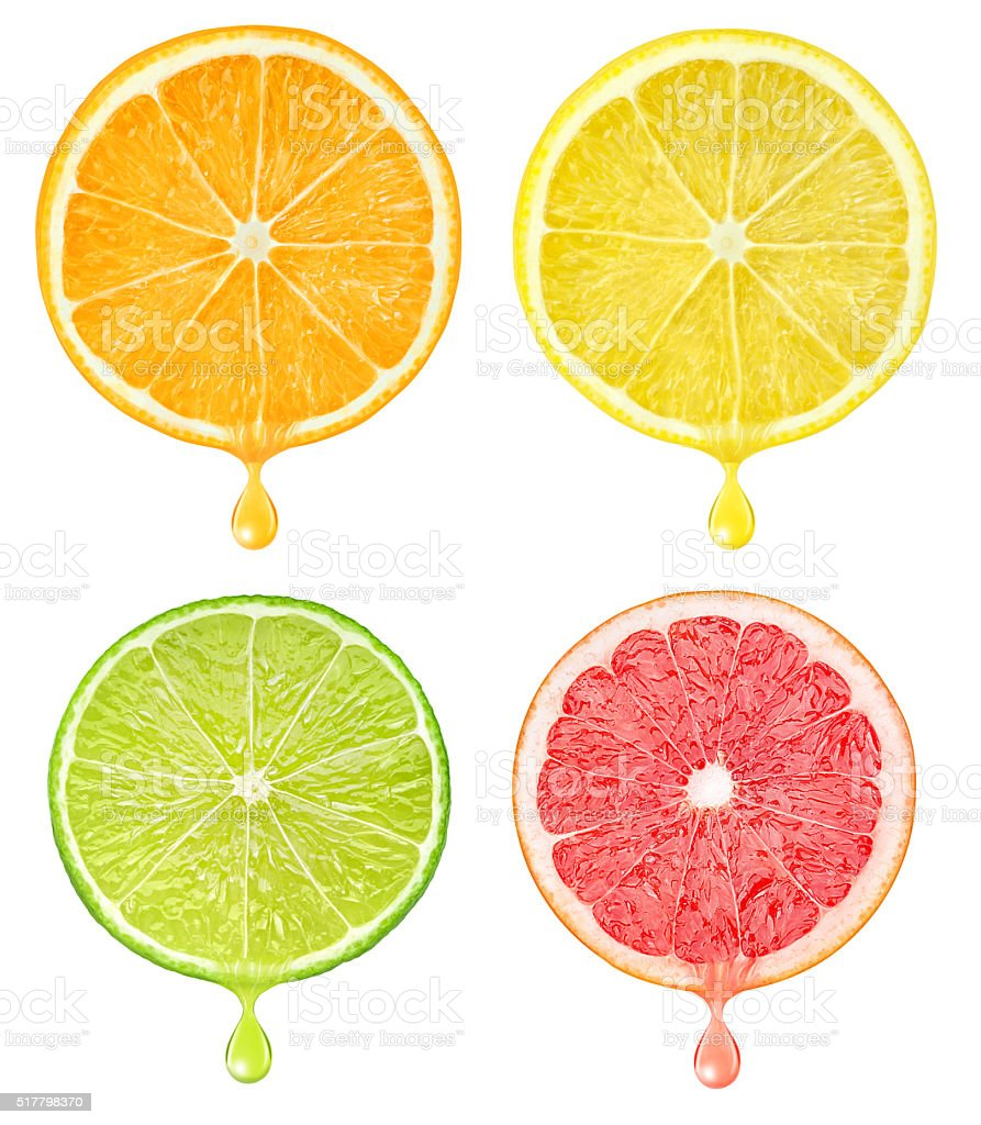 Slices of citrus fruits with drop of juice isolated stock photo
