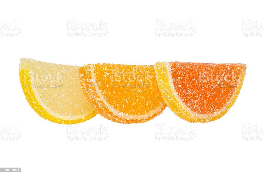Slices Of Colored Marmalade Stand One Behind Another. stock photo
