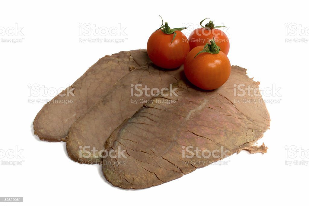 Slices of Cooked Beef with Tomatoes royalty-free stock photo