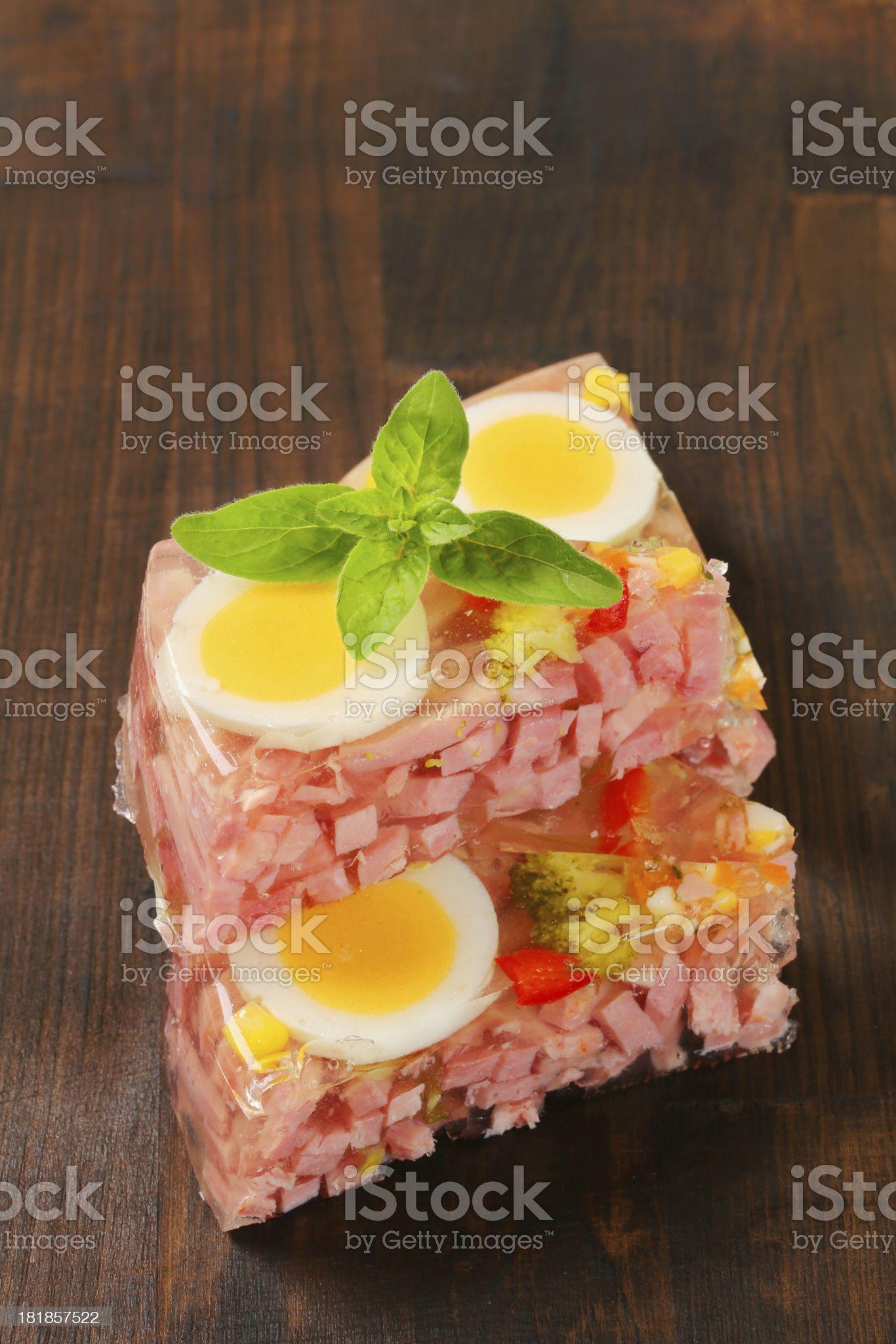 Slices of ham and egg aspic pie royalty-free stock photo
