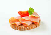 Slices of ham on bread