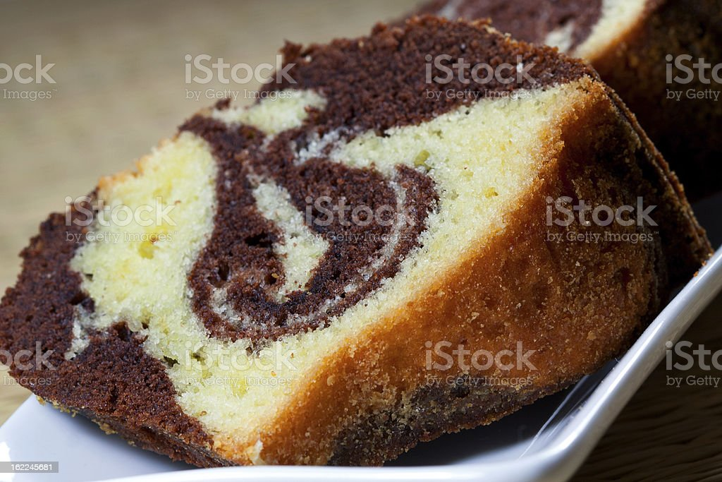 Slices of homemade marble cake stock photo