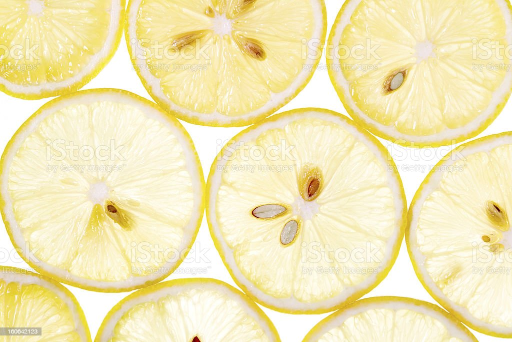 slices of lemon lit stock photo