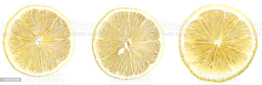 Slices of lemon on white stock photo