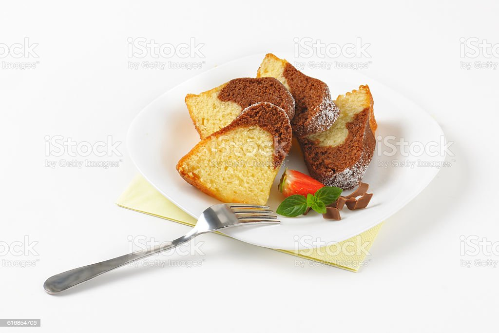 slices of marble bundt cake stock photo