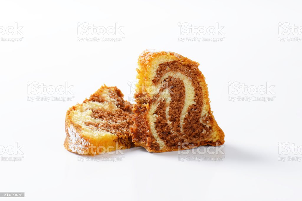 Slices of marble cake stock photo
