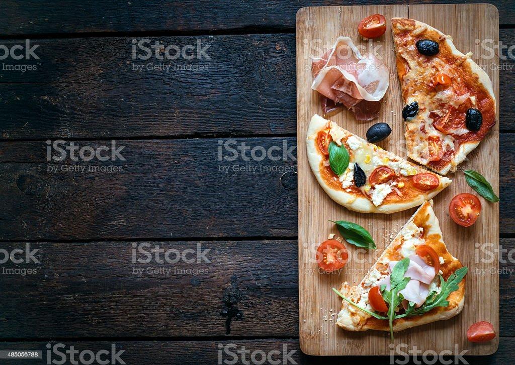 Slices of mini pizza stock photo