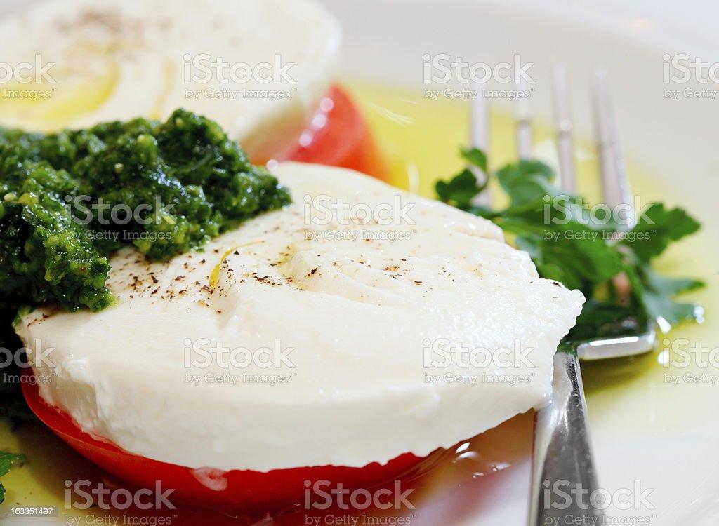 slices of mozzarella and tomato royalty-free stock photo