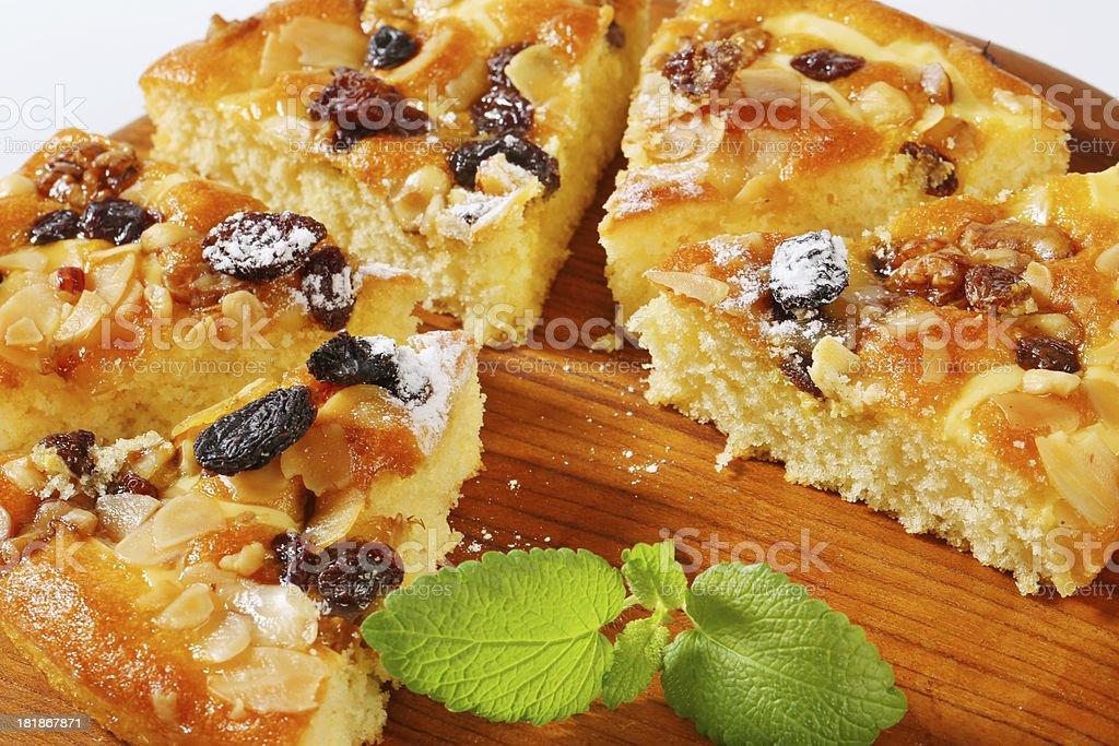 slices of nut tart stock photo