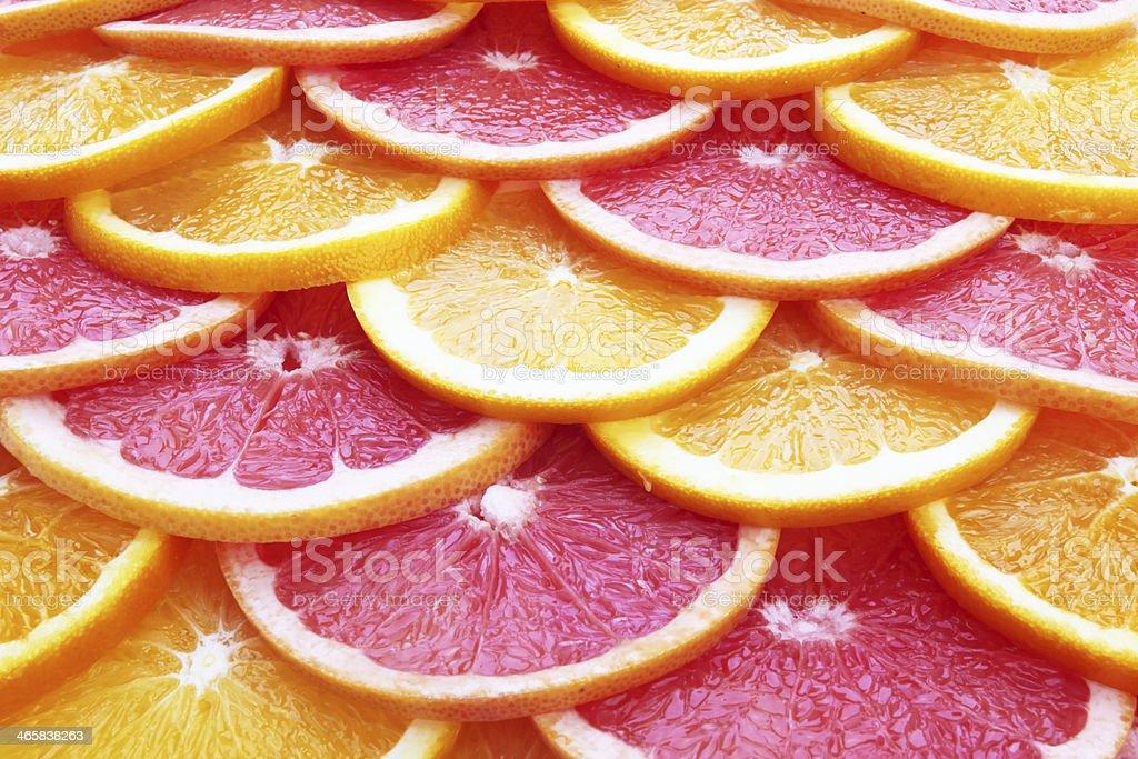 Slices of orange and grapefruit royalty-free stock photo