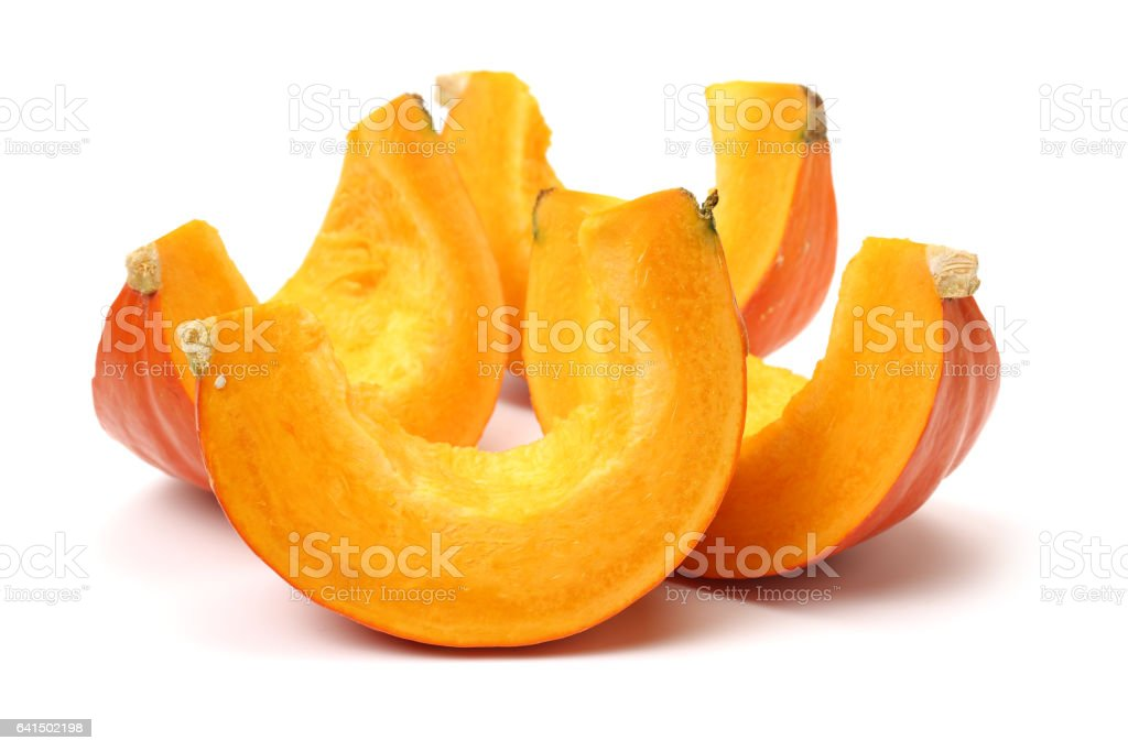 slices of pumpkin   still   on a white background stock photo