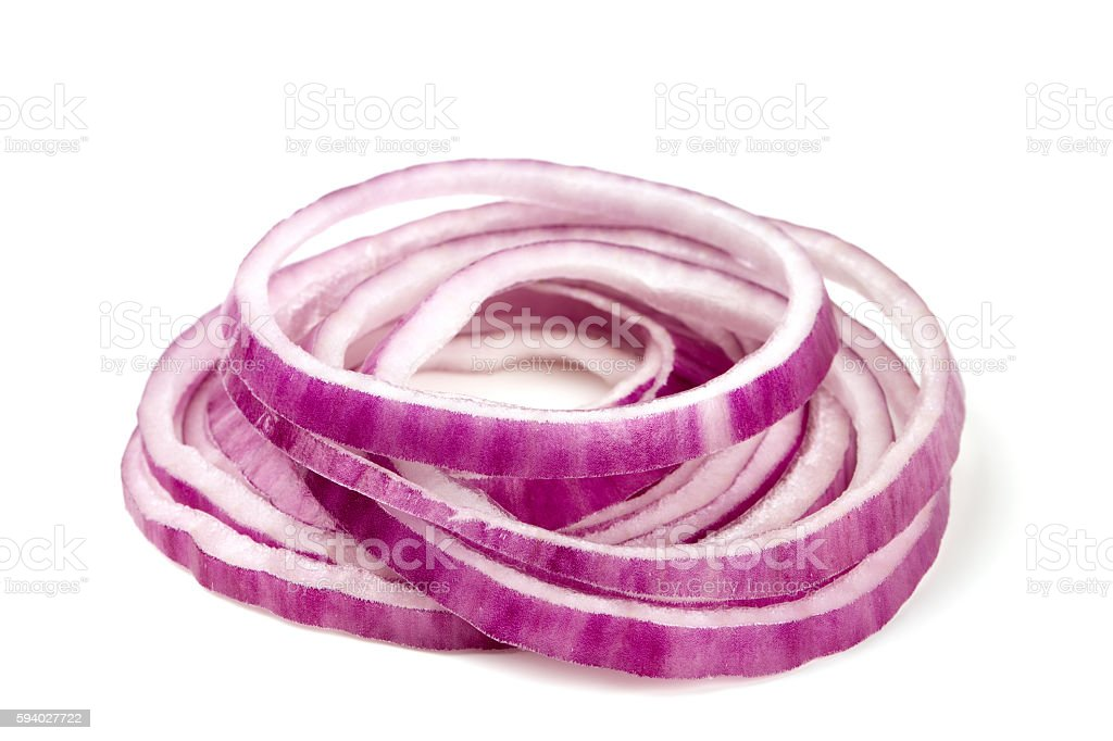 slices of red onion isolated on white stock photo