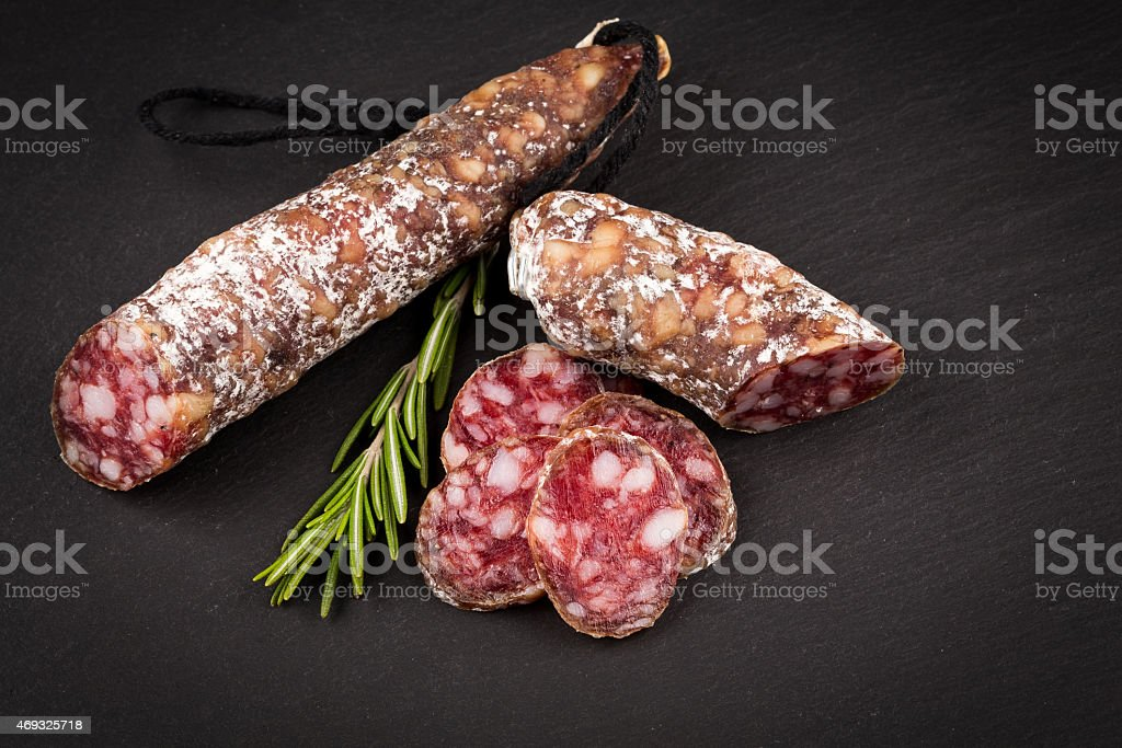 slices of salami stock photo