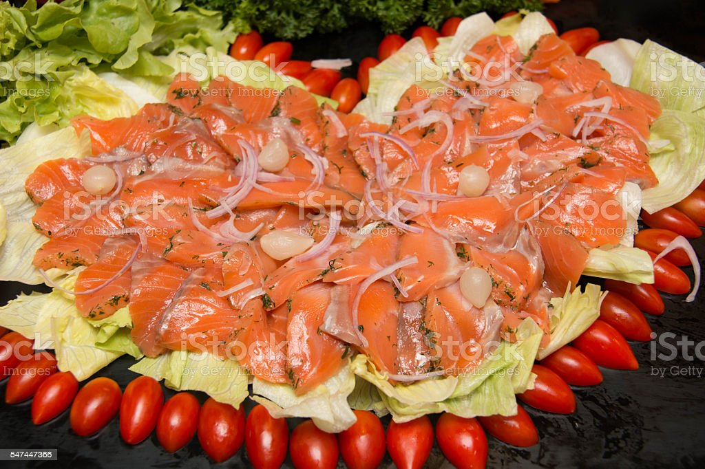 Slices of  salmon gravlax stock photo