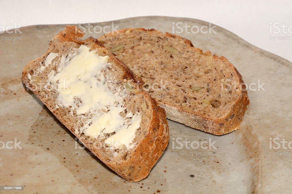 Slices of seven grain bread stock photo