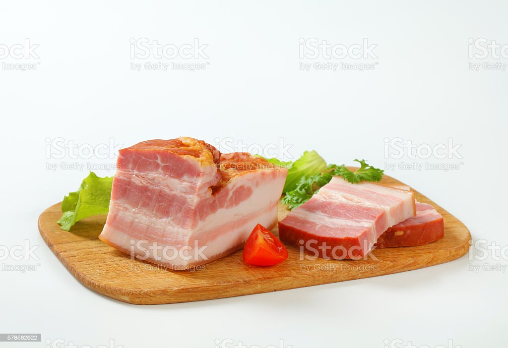 Slices of smoked bacon stock photo