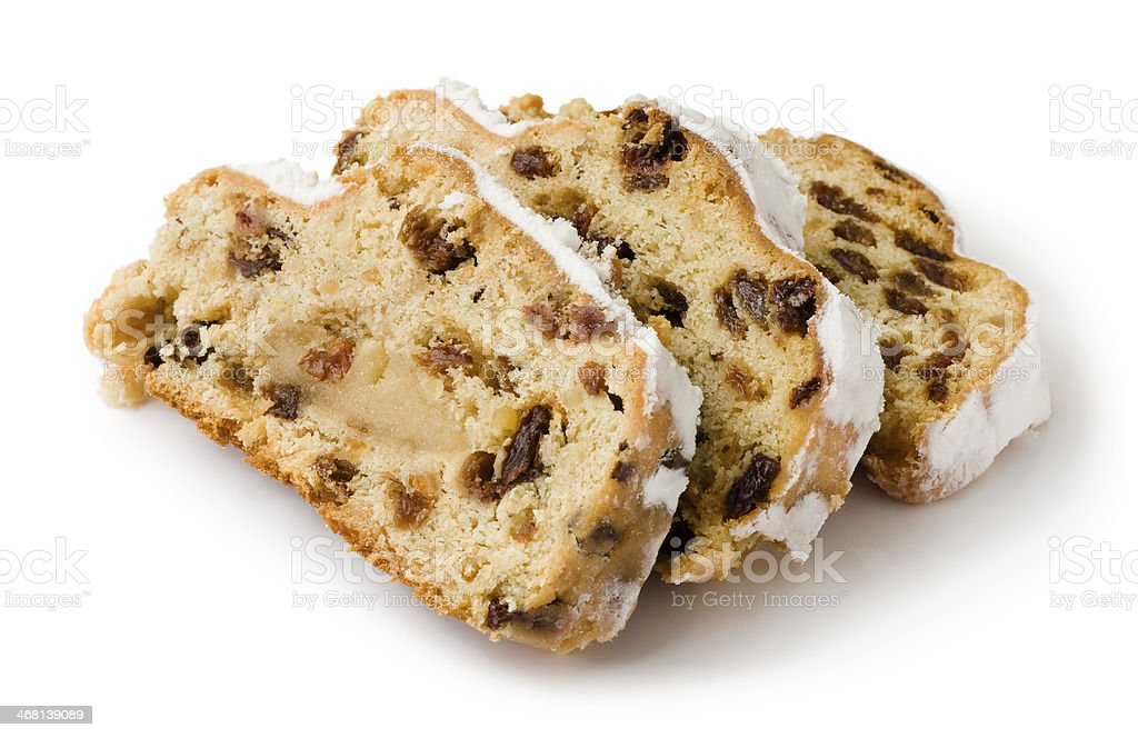 Slices of Stollen isolated on a white background stock photo