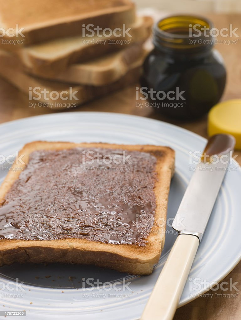 Slices of Toast with Yeast Extract Spread stock photo