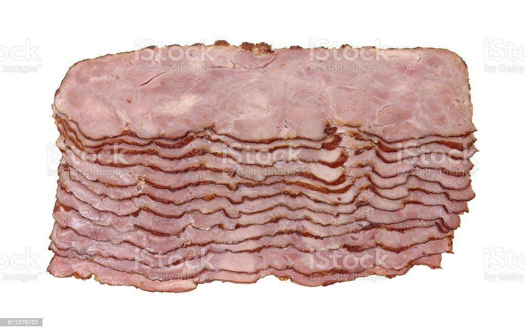 Slices of turkey bacon stock photo