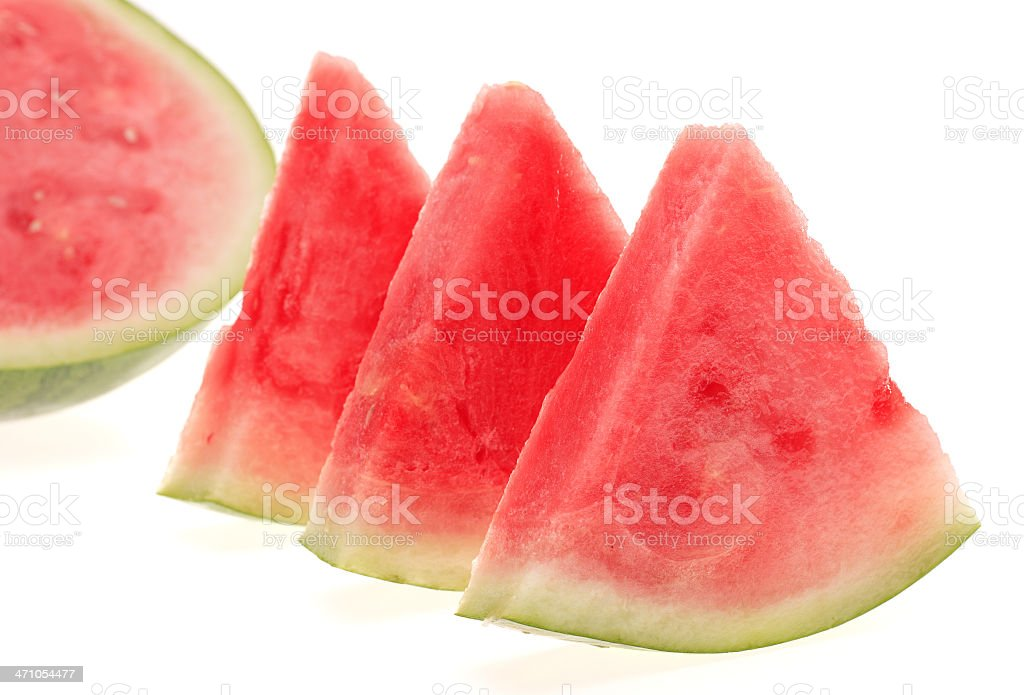 Slices of Watermelon on White Background royalty-free stock photo