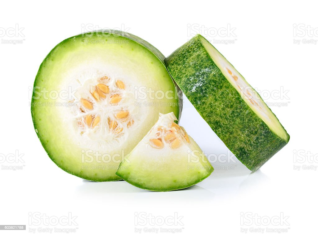 Slices of wax gourd on white background stock photo