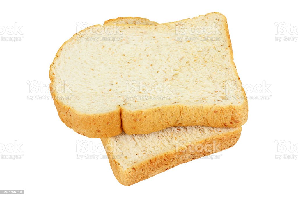slices of wheat bread isolated white background stock photo
